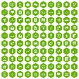 100 data exchange icons hexagon green. 100 data exchange icons set in green hexagon isolated vector illustration Stock Illustration