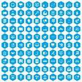 100 data exchange icons set blue. 100 data exchange icons set in blue hexagon isolated vector illustration Royalty Free Stock Photo