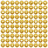 100 data exchange icons set gold. 100 data exchange icons set in gold circle isolated on white vectr illustration vector illustration