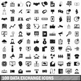 100 data exchange icons set, simple style Stock Image