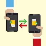 Data Exchange on Mobile. Royalty Free Stock Image