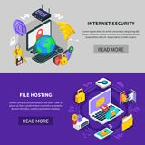 Data Exchange And Protection Services. Internet security and file hosting horizontal banners with icons showing data exchange and protection services isometric Stock Photo