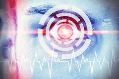Data eye. Abstract photo of a man´s eye with head-up display and laser beam royalty free illustration
