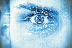 Data eye. Abstract photo of a man´s eye with head-up display and laser beam vector illustration