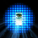 Data eye interface. Abstract photo of a eye with a virtual interface royalty free illustration
