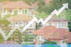 Data för affärsfinansindex av fastigheten lagerför bakgrundsrisi Royaltyfria Foton