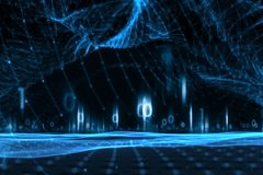 Data för Digitalt nätverk med binära nummer royaltyfri fotografi