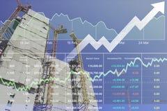 Data för finansiell forskning för materiel för fastighetkonstruktion arkivbilder