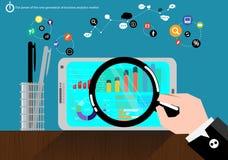 Data för marknad för analys för vektorkraftgenereringaffär med avancerad kommunikationshandel som består av snabbt grafskärmsymbo Royaltyfria Foton
