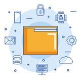 Data för moln för email för digital internet för mappmappdokument säkra royaltyfri illustrationer