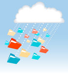 Data file folder rain cloud computing technology. Data in file folders rain or snow downloads from cloud computing technology Stock Images