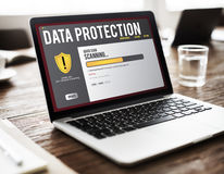 Data File Protection Firewall Malware Removal Concept. Data File Protection Firewall Scanning Concept Royalty Free Stock Photography