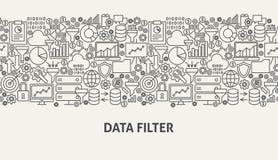 Data Filter Banner Concept. Vector Illustration of Line Web Design Stock Image
