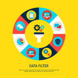 Data Filter Concept. Vector Illustration of Database Infographics Circle with Funnel and Digital Icons Stock Image