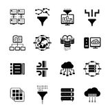 Data filter and data transfer icons. Moving and filtering information in the database. Vector illustration Stock Photos