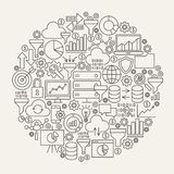 Data Filter Line Icons Circle Stock Photo