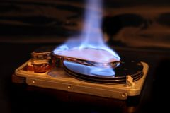 Data in fire Stock Images