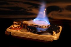 Data in fire Royalty Free Stock Photo