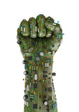 Data fist. 3D render of raised fist made of computer circuit board Stock Image