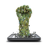 Data fist tablet. 3D render of raised fist made of computer circuit board bursting from tablet computer Stock Photography