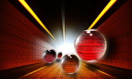 The data flow. In the form of sphere in the tunnel Stock Photography