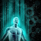 Data flow. 3D render of glowing male figure surrounded by galaxy of binary data Royalty Free Stock Photography