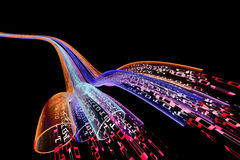 Data flow. Binary code data flowing through optical wires Royalty Free Stock Image