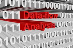 Data flow analysis. As a binary code 3D illustration Royalty Free Stock Photos