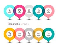 Data Flow with App Icons on Circles. Vector Infographic Design. Infographics Elements Set royalty free illustration