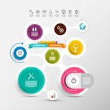 Data Flow Chart. Vector Circle Labels Set. With Icons. Infographic Layout. Modern Web Design Company Infographics Presentation royalty free illustration