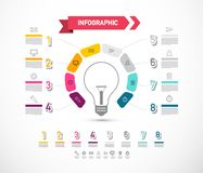 Data Flow Diagram with Bulb and Icons. Infographic Design. Company Infographics Information Concept stock illustration