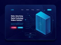 Data flow, information exchange process, server room isometric icon, data center, database, incoming binary cable, cloud. Storage concept dark neon vector royalty free illustration