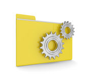 Data folder with gears isolated on white background Stock Photography
