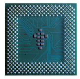 Data Fortress. Thought this image of the back side of a CPU looked like an old fort where the posts were the perimeter and the small chips were the barracks Royalty Free Stock Image