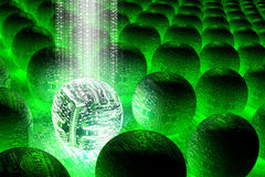 Data Future. 3D illustrated abstract technology background, featuring futuristic circuit spheres Stock Illustration
