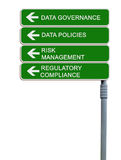 Data governance. Road sign to data governance Royalty Free Stock Image