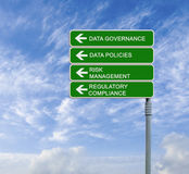 Data governance. Road sign with data governance words royalty free stock photography