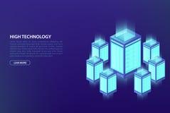 Data grande, conceito do processo de dados Centro de dados, base de dados da nuvem, hospedando Fotografia de Stock Royalty Free