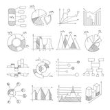 Data Graphic Representation Charts Of Different Types Hand Drawn Design Templates In Pencil Monochrome Style. Vector Graphs And Diagrams Set In Black And White royalty free illustration
