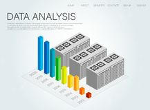 Data, great design for any purposes. Business data graphs. Protection concept. Success concept banner. 3d isometric vector illustration Royalty Free Stock Images