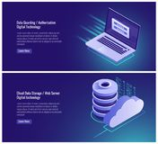 Data guarding, authorization form, password and login input, registration page, cloud data storage, web hosting. Isometric server vector illustration on Stock Photo