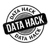 Data Hack rubber stamp. Grunge design with dust scratches. Effects can be easily removed for a clean, crisp look. Color is easily changed Stock Photo