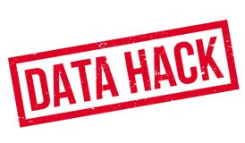 Data Hack rubber stamp. Grunge design with dust scratches. Effects can be easily removed for a clean, crisp look. Color is easily changed Stock Image