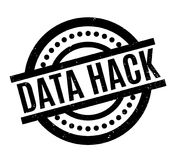 Data Hack rubber stamp. Grunge design with dust scratches. Effects can be easily removed for a clean, crisp look. Color is easily changed Stock Photos
