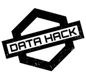 Data Hack rubber stamp. Grunge design with dust scratches. Effects can be easily removed for a clean, crisp look. Color is easily changed stock illustration