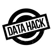 Data Hack rubber stamp. Grunge design with dust scratches. Effects can be easily removed for a clean, crisp look. Color is easily changed Stock Images