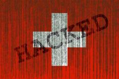 Data hackad Schweiz flagga Schweizareflagga med binär kod Royaltyfri Bild