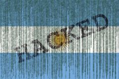 Data Hacked Argentina flag. Argentina flag with binary code. Stock Photography