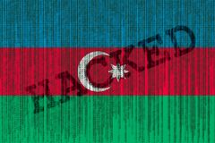 Data Hacked Azerbaijan flag. Azerbaijan flag with binary code. Royalty Free Stock Photography