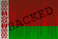 Data Hacked Belarus flag. Belorussian flag with binary code. Stock Images